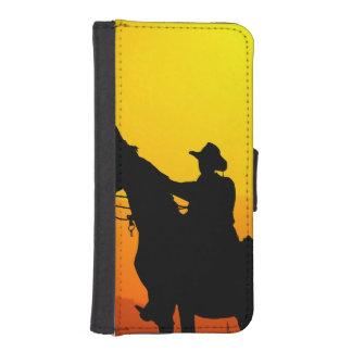 Coque Avec Portefeuille Pour iPhone 5 Cowboy-Cowboy-soleil-occidental-pays de coucher du