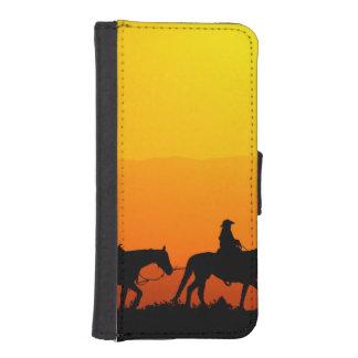 Coque Avec Portefeuille Pour iPhone 5 Cowboy-Cowboy-Texas-occidental-pays occidental
