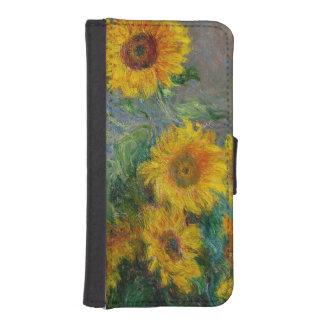 Coque Avec Portefeuille Pour iPhone 5 Cru de tournesols de Claude Monet floral