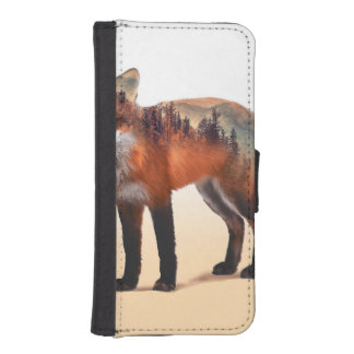 Coque Avec Portefeuille Pour iPhone 5 Double exposition de Fox - art de renard - renard