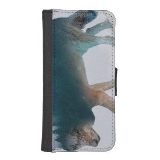 Coque Avec Portefeuille Pour iPhone 5 Double exposition de loup - forêt de loup - loup