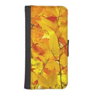 Coque Avec Portefeuille Pour iPhone 5 Été indien de la Saint-Martin, feuille jaune