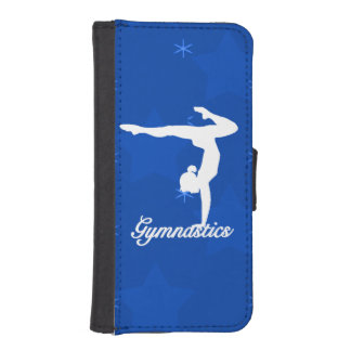 Coque Avec Portefeuille Pour iPhone 5 Étoiles bleues de fille de gymnastique