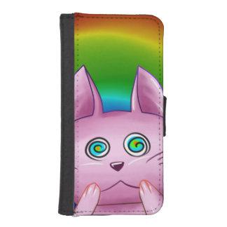 Coque Avec Portefeuille Pour iPhone 5 Etui Chat rose