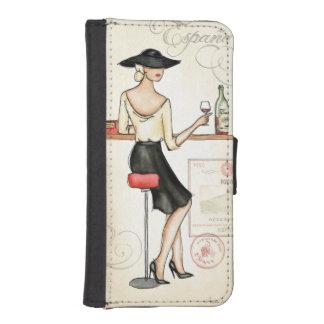 Coque Avec Portefeuille Pour iPhone 5 Femme buvant du vin espagnol