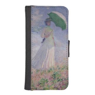 Coque Avec Portefeuille Pour iPhone 5 Femme de Claude Monet | avec un parasol tourné à