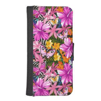 Coque Avec Portefeuille Pour iPhone 5 Feuille et fleurs tropicaux