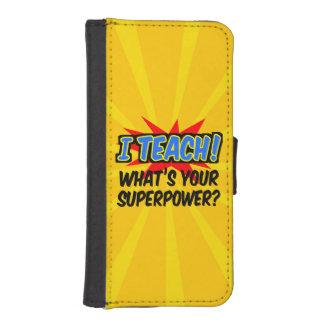 Coque Avec Portefeuille Pour iPhone 5 J'enseigne ce qui est votre professeur de super