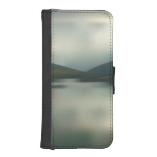 Coque Avec Portefeuille Pour iPhone 5 Lac dans les montagnes