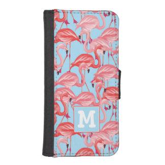 Coque Avec Portefeuille Pour iPhone 5 Les flamants roses lumineux sur le bleu | ajoutent