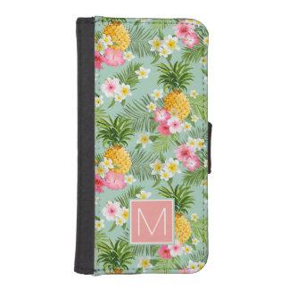 Coque Avec Portefeuille Pour iPhone 5 Les fleurs et les ananas tropicaux | ajoutent