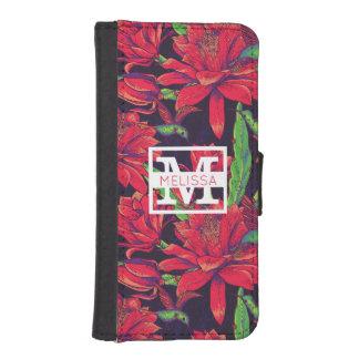 Coque Avec Portefeuille Pour iPhone 5 Les fleurs et les colibris | ajoutent votre nom