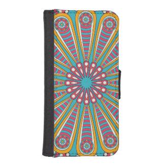 Coque Avec Portefeuille Pour iPhone 5 Mandala coloré frais de Boho