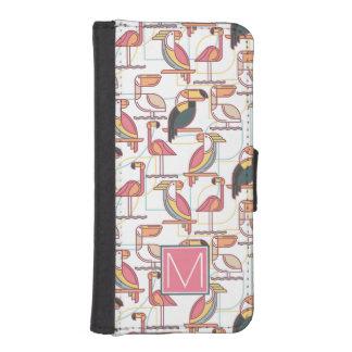 Coque Avec Portefeuille Pour iPhone 5 Modelez avec les oiseaux tropicaux que | ajoutent