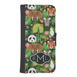Coque Avec Portefeuille Pour iPhone 5 Monogramme animal tropical du mélange |