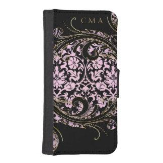 Coque Avec Portefeuille Pour iPhone 5 Monogramme floral tourbillonnant de la damassé |