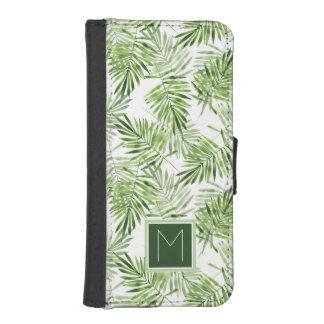 Coque Avec Portefeuille Pour iPhone 5 Monogramme vert des palmettes |