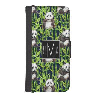 Coque Avec Portefeuille Pour iPhone 5 Panda avec le monogramme en bambou du motif |