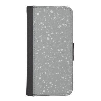 Coque Avec Portefeuille Pour iPhone 5 Parties scintillantes Stars4 - Argent