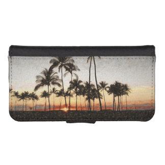 Coque Avec Portefeuille Pour iPhone 5 Peinture hawaïenne de roche de coucher du soleil