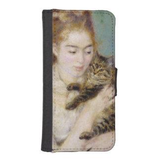 Coque Avec Portefeuille Pour iPhone 5 Pierre une femme de Renoir | avec un chat