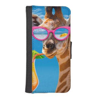 Coque Avec Portefeuille Pour iPhone 5 Plage de girafe - girafe drôle