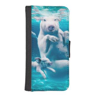 Coque Avec Portefeuille Pour iPhone 5 Plage de porc - porcs de natation - porc drôle