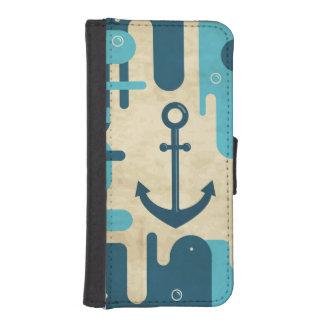 Coque Avec Portefeuille Pour iPhone 5 Rétro conception nautique turquoise d'ancre