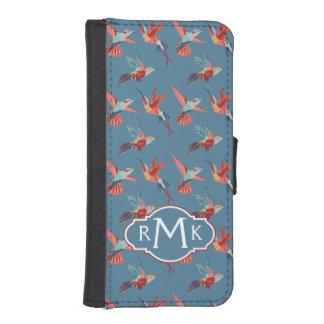Coque Avec Portefeuille Pour iPhone 5 Rétro monogramme du motif | de colibri