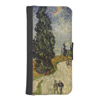 Coque Avec Portefeuille Pour iPhone 5 Route de Vincent van Gogh | avec des cyprès, 1890