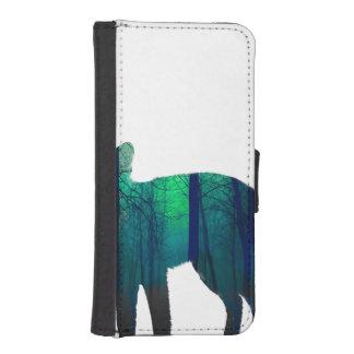 Coque Avec Portefeuille Pour iPhone 5 Silhouette de Fox - renard de forêt - art de