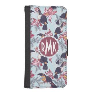 Coque Avec Portefeuille Pour iPhone 5 Toucans avec le monogramme exotique des fleurs |