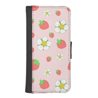 Coque Avec Portefeuille Pour iPhone 5 Très fraises de baie dans le rose