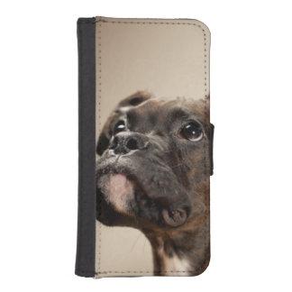 Coque Avec Portefeuille Pour iPhone 5 Un chiot Brindle de boxeur recherchant