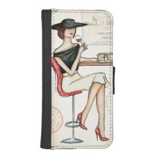 Coque Avec Portefeuille Pour iPhone 5 Verre de femme et de vin
