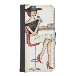 Coque Avec Portefeuille Pour iPhone 5 Vin potable de femme à la mode