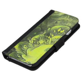 Coque Avec Portefeuille Pour iPhone 6 Belle peinture vert jaunâtre de fleur de fractale