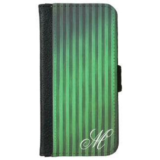 Coque Avec Portefeuille Pour iPhone 6 Caisse verte décorée d'un monogramme de téléphone
