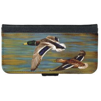 Coque Avec Portefeuille Pour iPhone 6 Canards de Mallard volant au-dessus de l'étang