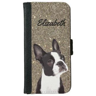 Coque Avec Portefeuille Pour iPhone 6 Cas de téléphone de Boston Terrier d'étincelle de