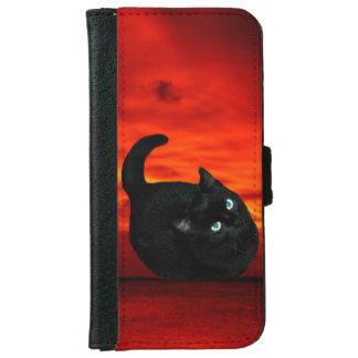 Coque Avec Portefeuille Pour iPhone 6 Chat et ciel rouge