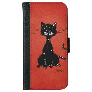 Coque Avec Portefeuille Pour iPhone 6 Chat noir mauvais en lambeaux rouge