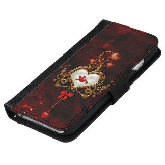 Coque Avec Portefeuille Pour iPhone 6 Coeur merveilleux avec la colombe