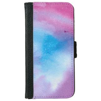 Coque Avec Portefeuille Pour iPhone 6 Couleur pour aquarelle de marbre rose et bleue