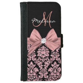 Coque Avec Portefeuille Pour iPhone 6 Damassé rose de noir de parties scintillantes