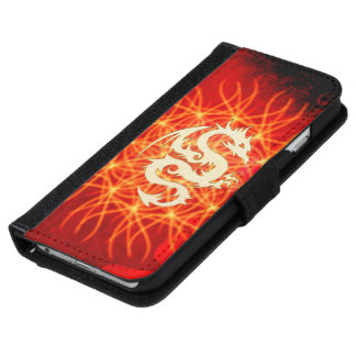Coque Avec Portefeuille Pour iPhone 6 Dragon d'or merveilleux