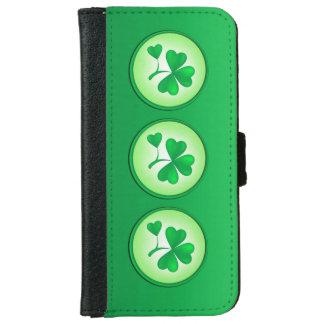 Coque Avec Portefeuille Pour iPhone 6 Feuille de shamrock