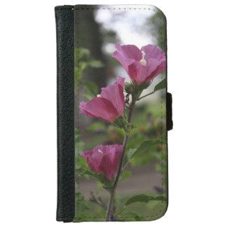 Coque Avec Portefeuille Pour iPhone 6 Fleurs roses avec la caisse verte de téléphone de