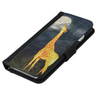 Coque Avec Portefeuille Pour iPhone 6 iPhone de girafe et de lune | 6 caisses de