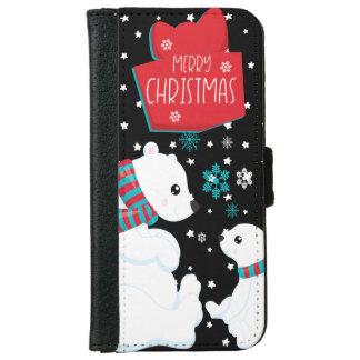 Coque Avec Portefeuille Pour iPhone 6 Joyeux Noël de deux ours blancs